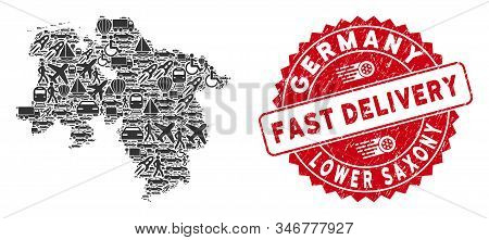 Shipment Collage Lower Saxony Land Map And Rubber Stamp Watermark With Fast Delivery Phrase. Lower S