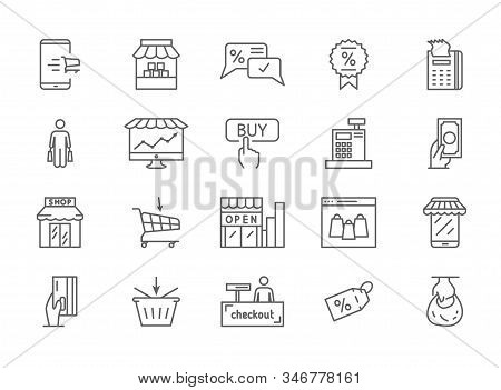 Large Collection Of Twenty Simple Shopping Icons Depicting Stores, Shops, Merchandise, Sales Tags, P
