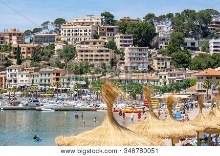 Mallorca, Spain - May 7,2019: Port De Soller, Majorca Seaside Resort, A Popular Tourist Destination.
