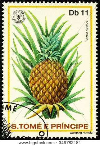 Moscow, Russia - January 22, 2020: Stamp Printed In Sao Tome And Principe Shows Pineapple, Or Ananas