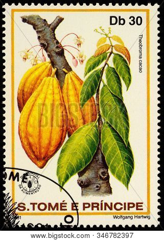 Moscow, Russia - January 23, 2020: Stamp Printed In Sao Tome And Principe Shows Cacao Fruits (theobr