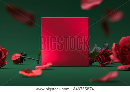 Red Blank Cardboard Gift Box, Roses And Petals On Green Background. 3d Rendering.