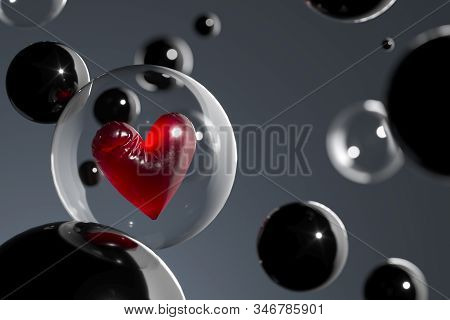 Transparent Balloon With Red Heart Inside With Different Ballons Flying To Receiver. Sending Love Me