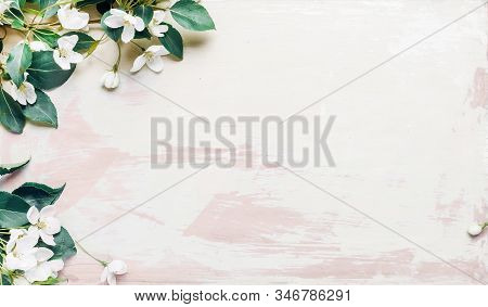 Apple Tree Branch On A Wooden Background In Retro Style. Spring Concept Backdrop. Colorful Spring In