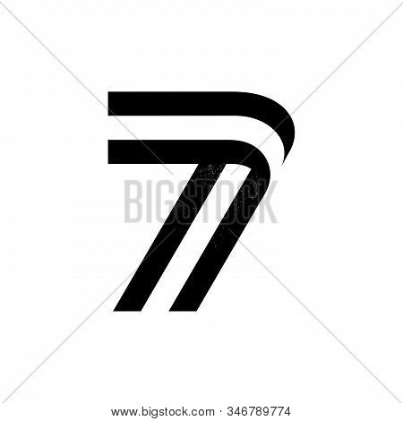 Number Seven Logo Formed By Two Parallel Lines With Noise Texture. Vector Black And White Typeface F