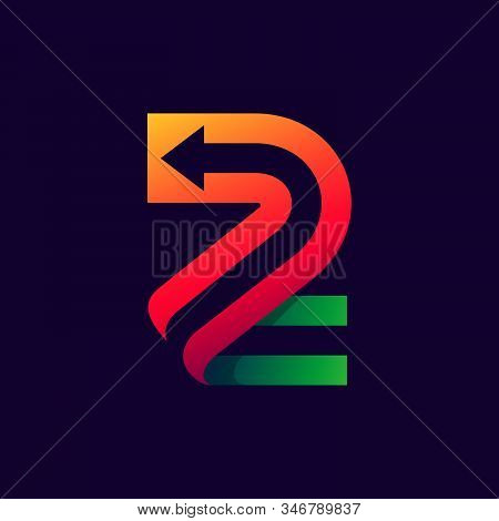 Number Two Logo With Arrow Inside. Vector Bright Colours Typeface For Delivery Labels, Business Head