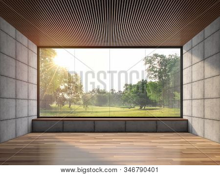 Modern Contemporary Loft Empty Room With Nature View 3d Render.there Are Wood Floor Polished Concret