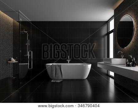 Modern Luxury Black Bathroom 3d Render,the Room Has Black Tile Floor And Black Mosaic Wall, A Clear