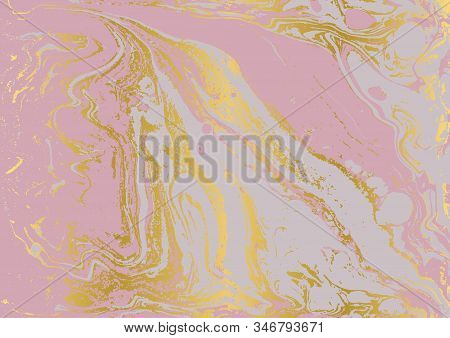 Gold And Pink Marbled Texture. Watercolor Hand Drawn Marbling Illustration. Abstract Vector Backgrou
