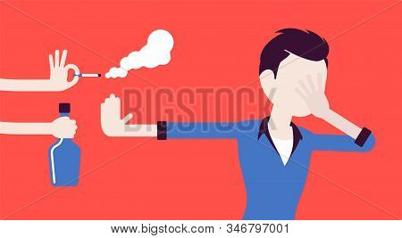 Bad Habits Refusal, Boy Against Use Of Alcohol And Smoking. Guy Breaking Or Kicking, Trying To Get R
