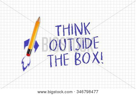 Quad Or Squared White Paper With Rocket Pencil And Message Think Outside The Box