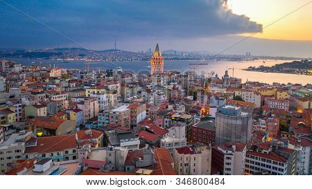 Aerial View Of Galata Tower And Istanbul City In Turkey.