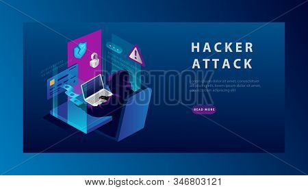 Isometric Internet Hacker Attack And Credit Card Hacking Concept. The Hacker At The Computer. Comput