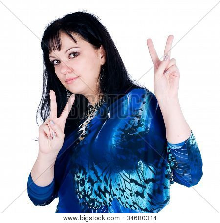 "Young beautiful woman showing ""victory"" gesture. Isolated on white poster"