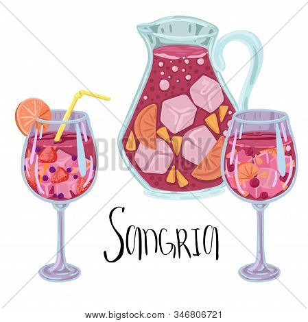 Drink Sangria In The Countess And Fougeres. Wine With Fruit. Vector Cartoon Illustration