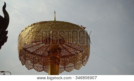 Chatra Or Umbrella An Auspicious Symbol In Buddhism. Roof Of A Buddhist Temple In Thailand Temple.