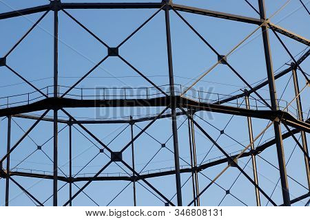 Column-guided Gas Holder Frame Work Close-up View.