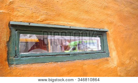 Copenhagen, Denmark - Jul 06th, 2015: Detail Of A Wooden Window At Nyboders Mindestuer Museum - Yell