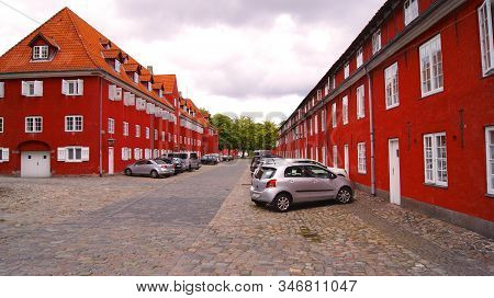 Copenhagen, Denmark - Jul 06th, 2015: Forsvarets Efterretningstjeneste, Red Building And Naval Barra