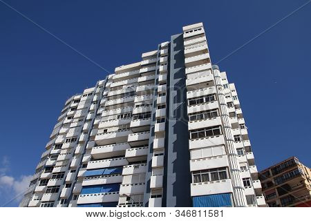 Malaga, Spain - October 11, 2010: Generic Apartment Building In Malaga, Spain. Malaga Is The 6th Lar