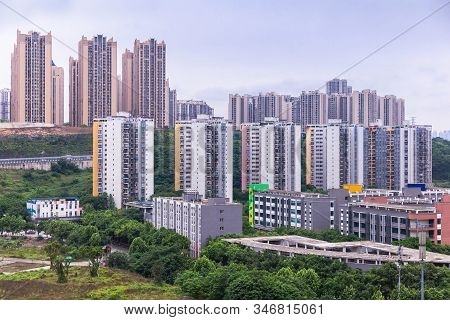 City View Of Chongqing High Rise Buildings, Modern Residential, Shopping Center And Electric Train.