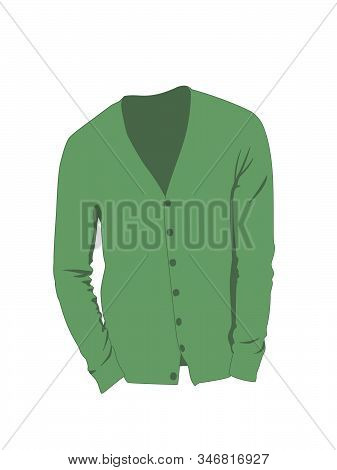 Cardigan For Men Green Realistic Vector Illustration Isolated No Background