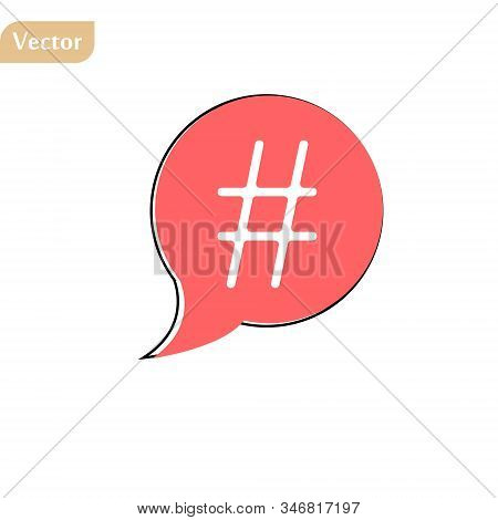 Red Simple Thin Line Hashtag Icon. Flat Contour Trendy Logotype Graphic Art Design Illustration Isol