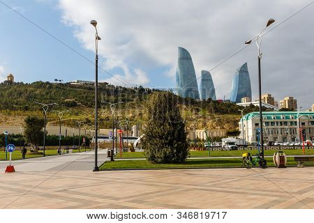 Baku, Azerbaijan - November 14, 2019: Flame Towers Is A Trio Of Skyscrapers In Baku, Azerbaijan. Fla