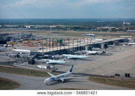 Heathrow, Great Britain - August 15, 2019: Aerial view of Heathrow international airport at day time