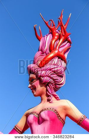 Nice, France - February 24  2019: Carnival Of Nice In French Riviera - Carnaval De Nice - Bright Bal