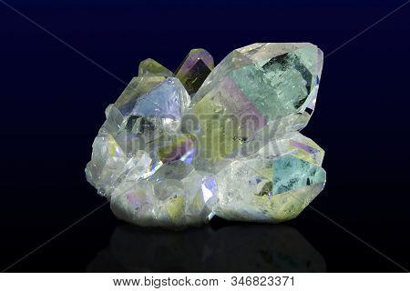 Titanium Rainbow Aura Quartz Crystal Cluster..close Up