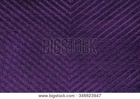 Closeup Ultra Violet Color Fabric Herringbone Pattern Sample Texture Backdrop. Ultra Violet,purple F