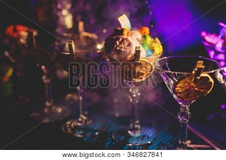 View Of Alcohol Setting On Catering Banquet Table, Row Line Of Different Colored Alcohol Cocktails O
