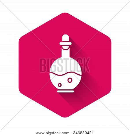 White Glass Bottle With Magic Elixir Icon Isolated With Long Shadow. Computer Game Asset. Pink Hexag