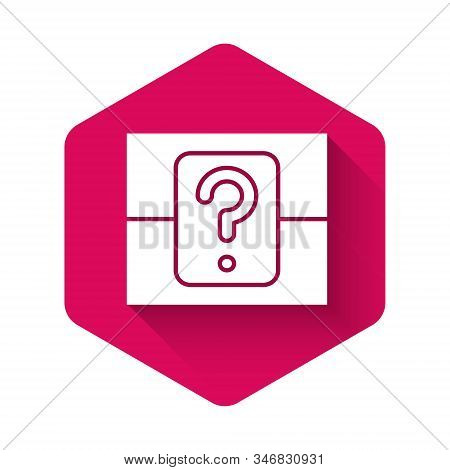 White Mystery Box Or Random Loot Box For Games Icon Isolated With Long Shadow. Question Box. Pink He