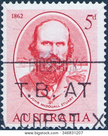 Saint Petersburg, Russia - January 21, 2020: Postage Stamp Printed In Australia With A Portrait Of T