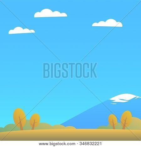 Autumn Landscape Of Nature. Glade, Yellow Trees, Forest, Mountain With A Snowy Peak, Blue Sky With C