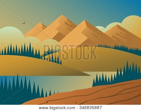 Evening Wildlife Landscape With Forests, Hills And Mountains. In The Distance, An Eagle Flies Among