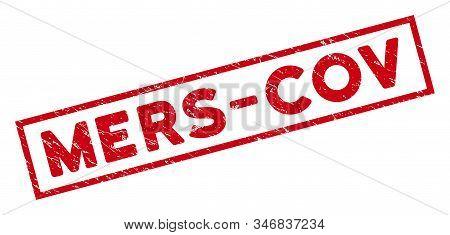 Mers-cov Rectangular Framed Seal Stamp. Red Vector Rectangular Grunge Seal Stamp With Mers-cov Messa