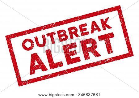 Outbreak Alert Rectangular Framed Stamp Seal. Red Vector Rectangular Grunge Seal With Outbreak Alert