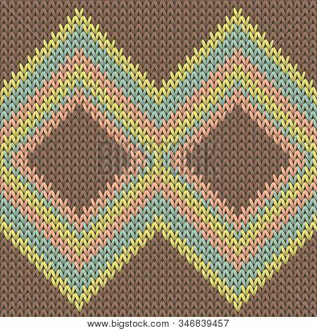 Closeup Rhombus Argyle Knit Texture Geometric Vector Seamless. Carpet Knitting Pattern Imitation. No