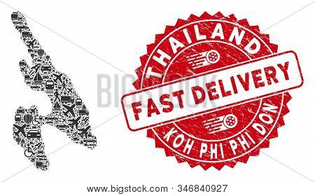 Shipping Collage Koh Phi Don Map And Grunge Stamp Watermark With Fast Delivery Phrase. Koh Phi Don M
