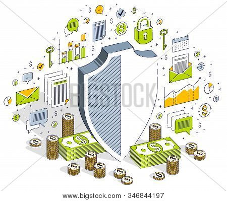 Protection Of Finances Concept, Life Buoy And Shield With Cash Money Dollar Stack Isolated On White
