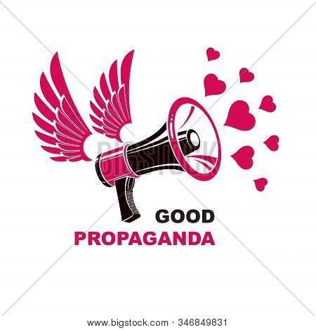 Vector Flyer Template Created With Loudspeaker Equipment And Good Propaganda Inscription And Loving