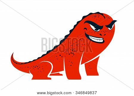 Funny Cartoon Monster With Angry Sneering Face Vector Smile Illustration Isolated On White, Facial E
