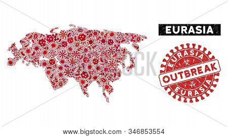 Infected Collage Eurasia Map And Red Rubber Stamp Watermark With Outbreak Badge. Eurasia Map Collage
