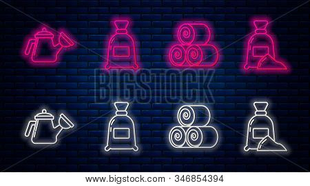 Set Line Bag Of Flour, Roll Of Hay, Watering Can And Bag Of Flour. Glowing Neon Icon On Brick Wall.
