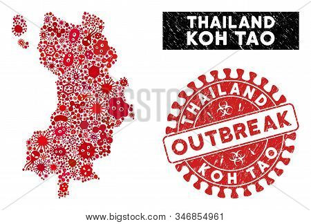 Outbreak Collage Koh Tao Thai Island Map And Red Rubber Stamp Seal With Outbreak Words. Koh Tao Thai