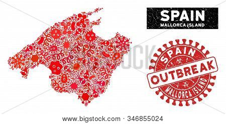 Outbreak Collage Spain Mallorca Island Map And Red Corroded Stamp Seal With Outbreak Text. Spain Mal