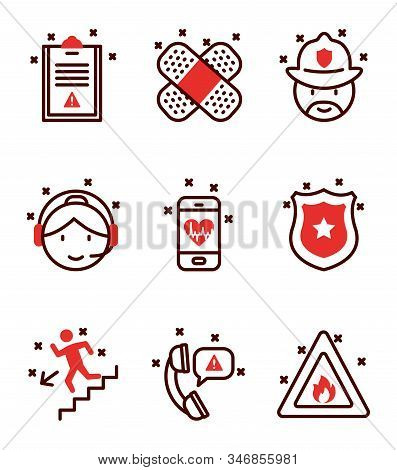 Icon Set Design, Emergency Rescue Save Department 911 Danger Help Safety And Aid Theme Vector Illust